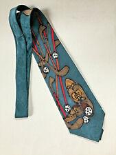 ROBERT DASKAL Art Deco Golf Design 100% Silk Necktie - Made in USA