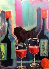 WINE PAINTING Original SWARTZMILLER DNA SIGNED Pop Art Outsider Impressionist