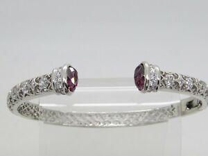 TACORI IV Sterling Silver .925 Purple White CZ Ornate Hinged Cuff Bracelet