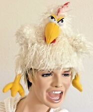 Elope White Yellow Faux Fur Chicken Bird Costume Hat - One Size Fits All