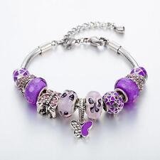 Gold Plated Rhinestone Crystal European Charm Purple Beads Bracelet Lady Bangle