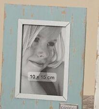 Marco de fotos, Portaretratos para 10 x 15cm Shabby Estilo look USADO AZUL HOME