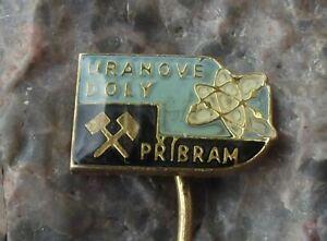 Vintage Pribram Uranium Mines Mining Crossed Hammer Atom Electron Logo Pin Badge