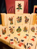 Stunning Chinese Bovine Bone Bamboo Mahjong Set 152 Tiles