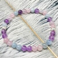 Women Healing Stone Chakra Aquamarine Amethyst Gem Bead Sterling Silver Bracelet