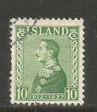 Iceland 1937 King Christian X 25th Anniversary 10a green (199) fine used