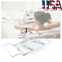 Adjustable Bathtub Caddy Shelf Bathroom Tray Holder Wine Book Rack Stand Metal