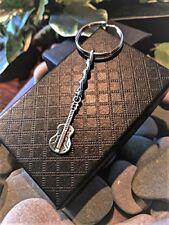 Handmade Silver Musician Guitar Keyring / Handbag Charm. Gift Boxed.