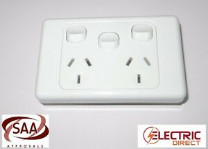 Double 10A Power Point GPO White with Extra Switch