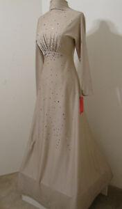 Vintage Gown Unusual Taupe Bias Cut High Neck Rhinestone Trim LS Model Length S