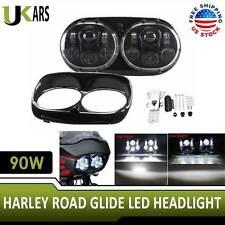 Road Glide Dual LED Headlight Assembly Hi/Lo Beam Fog Light for Harley Davidson