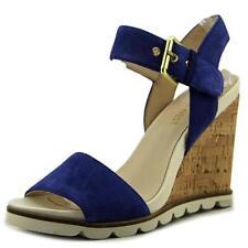 Sandali e scarpe blu zeppa in camoscio per il mare da donna