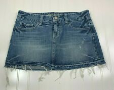 American Eagle Mini Skirt Womens Sz 8 Factory Blue Medium Wash Distressed Denim