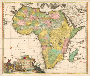 Vintage Map of Africa (1690) by Carel Allard historic  wall art poster print