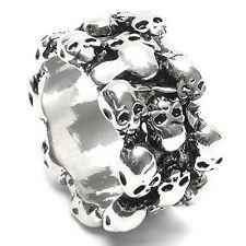 1Pc Men's Gothic Skull Finger Stainless Steel Punk Biker Knuckle Ring Utility