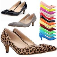 Women Low Mid Kitten Heels Slip On Court Shoe Ladies Pumps Work Office Size 5-11