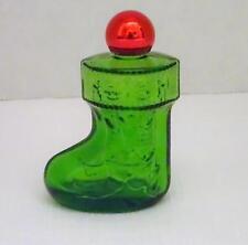 1979 AVON CHRISTMAS SURPRISE Moonwind Cologne Empty Green Glass Stocking Bottle