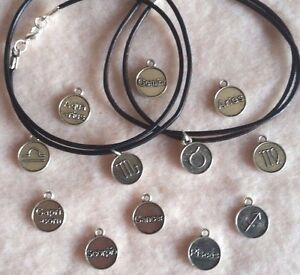 Tibetan Silver Zodiac Sign Charm Black-Brown Leather Cord Necklace Gift Wrapped