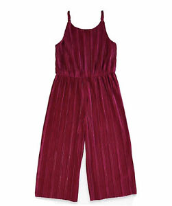 M & S GIRLS VELVET PLEATED JUMPSUIT - BERRY - AGE 6 - 7 YEARS - BNWT