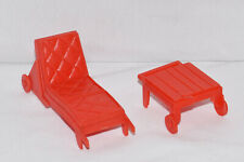 Vtg DollHouse Patio Furniture Red 1950's Superior Patio Set Chaise Lounge Chair