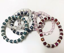 Colourful Shinning Bead Elastic Bracelet 19 Plastic Crystal Diamante Detailed *