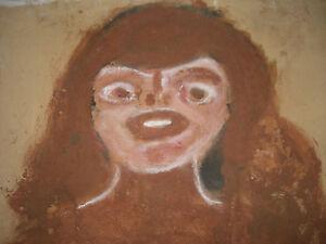 Jim Sudduth Folk Art painting- Outsider  Alabama Artist 1980's Woman face
