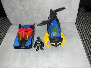 Imaginext Batman Helicopter and Batman Figure Toy + Blue Batman Car