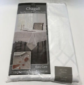 """BENSON MILLS Chagall Spillproof Tablecloth WHITE 60""""x104"""" Oblong Easy Care USED"""