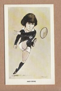 1979 Venorlandus Square Cut Blank Back Proof Card - Andy Irvine, Scotland rugby