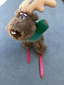 Vintage Emotions 1986 Mattel Stuffed Animal Moose reindeer Plush Ski bum Skiing