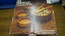 Teak wood Salad bowl set w/box vintage 80s Benjamin & Medwin modern serving drum