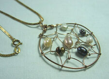 "Gold Filled Pendant Necklace w Real Freshwater Pearls   Chain: 24"" long"