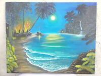 Original  Hand Painted Acrylic Moonlight Lagoon   Beach  16x20 Stretched Canvas