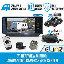 "7"" Rearview Mirror Monitor Caravan 2 Reversing Camera 4PIN System Kit CCD Elinz"