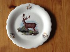 Vintage Axe Vale Pottery Small Plate showing painting of a Stag Approx diameter
