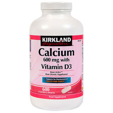 Kirkland Calcium 600mg with Vitamin D3 600 Coated Caplets Food Supplement