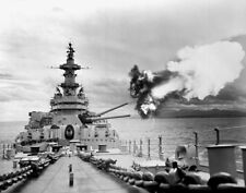 "7062 USS Iowa Firing 16"" Guns  US Navy WWII WW2 B&W Photo World War Two"