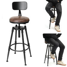 Industrial Rustic Bar Stool Swivel Vintage Cafe Counter Backrest Kitchen Chair