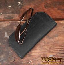 Black Genuine Bison / Buffalo Leather Soft Eye Glasses or Sunglasses Case