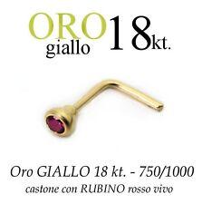 Piercing naso nose in ORO GIALLO 18kt.con RUBINO rosso vivo yellow GOLD 18kt.