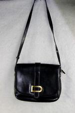Vintage DELVAUX Black leather handbag bag 1970s