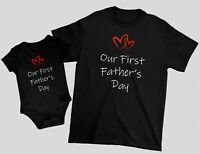 Our First Father's Day Matching Set Tee T-shirt Baby Bodysuit Gift For Dad Daddy