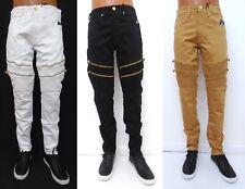 Men JORDAN CRAIG Black Wheat Aaron Moto Biker Slim Straight Fit Jeans JM3042A