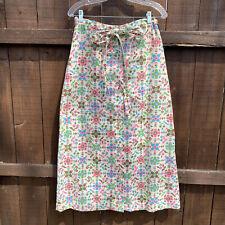 Vintage 1970s Boho Hippie maxi skirt cross stitch flower print