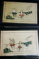 China Stamps Rare Group of 3 Hand Painted Early Cards