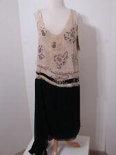MC AVOY 1920's Rare Black & Cream Rhinestone Beaded Sleeveless Flapper Dress XL