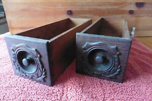 2 Antique Wooden Singer Sewing Machine Cabinet Drawers Wood Knobs Pulls Vintage