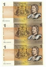 Australia $1 Dollar Johnston Stone AU 3 Notes ND 1982  R. 78 Special Serial #s