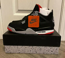 AIR JORDAN RETRO 4 BLACK FIRE RED CEMENT GREY BRED SIZE 12.    White 1 2 3