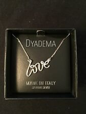 New  Dyadema MADE IN ITALY Sterling Silver Necklace with LOVE